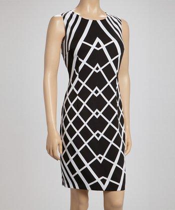 Voir Voir Black & White Geometric Sleeveless Dress
