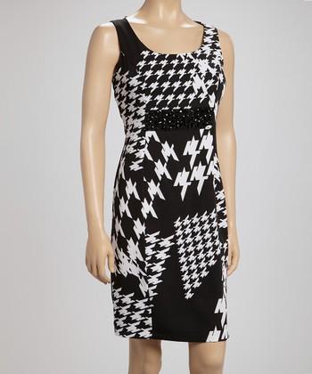 Voir Voir Black & White Stone Houndstooth Sleeveless Dress