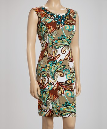 Voir Voir Turquoise & Brown Gem Paisley Sleeveless Dress