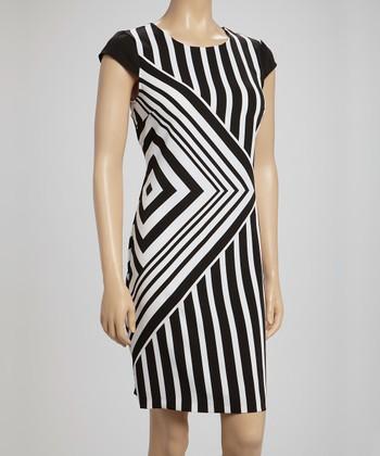 Voir Voir Black & White Diamond Stripe Cap-Sleeve Dress