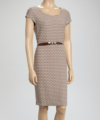 Sharagano Taupe Zigzag Belted Dress