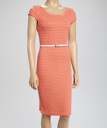 Coral Diamond Belted Dress
