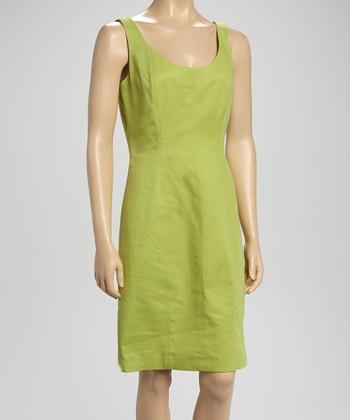 Sharagano Chartreuse Sleeveless Dress