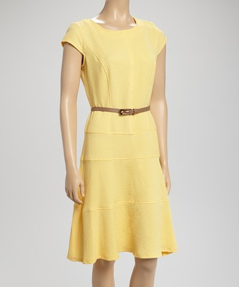 Yellow Cap-Sleeve Belted Dress