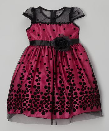 Fuchsia & Black Polka Dot Dress - Toddler & Girls