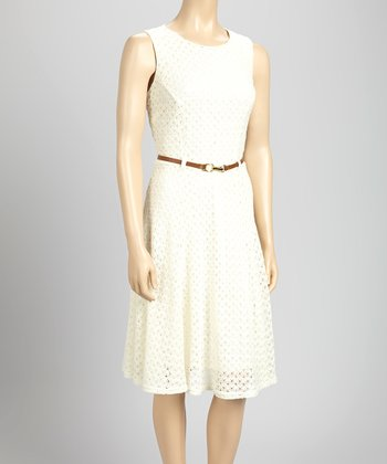 Ivory Crocheted Belted Sleeveless Dress