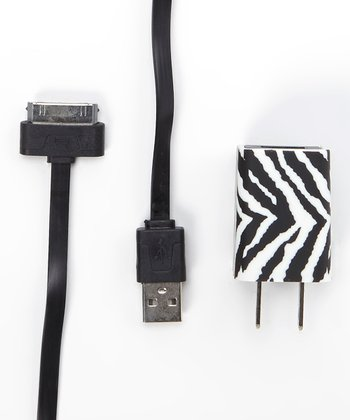 Black & White Zebra Charger Cable Set for iPhone 4/4s