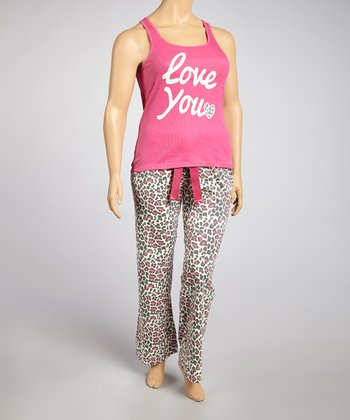 Pretty in Pink Leopard 'Love You' Pajama Set - Plus