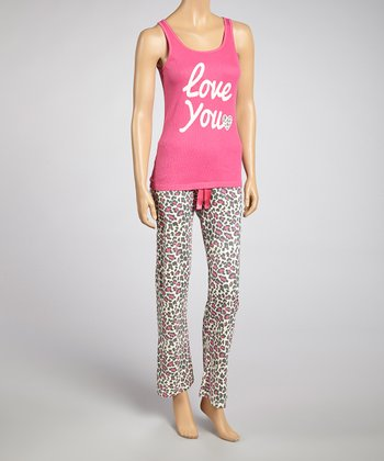 Pretty in Pink Leopard 'Love You' Pajama Set - Women