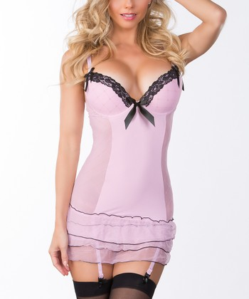 Light Pink Ruffle Babydoll & G-String - Women