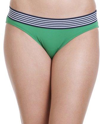 Kelly Green Stripe Bikini Bottoms