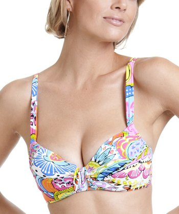 Pink & Blue Paisley Bikini Top