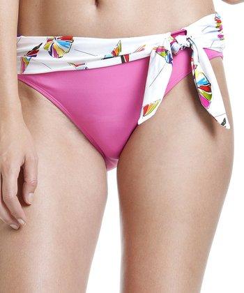 White & Pink Umbrella Bow Bikini Bottoms