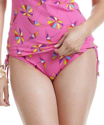 Pink & Yellow Umbrella Side-Tie Bikini Bottoms