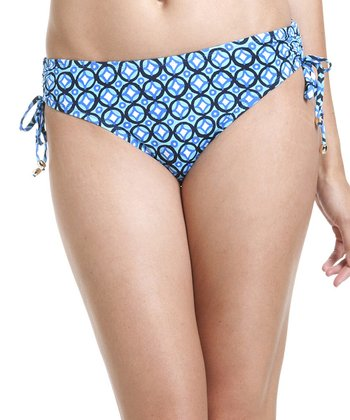 Blue Arabesque Side-Tie Bikini Bottoms
