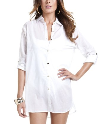 White Button-Up Cover-Up