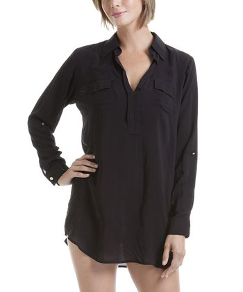 Black Button-Up Cover-Up