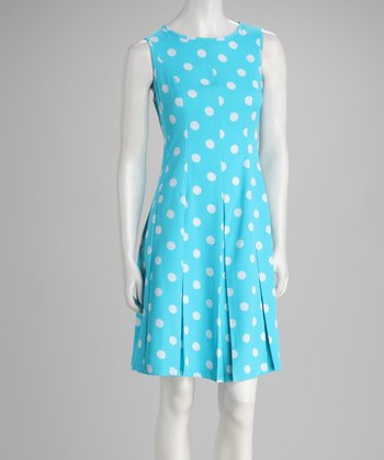Blue Polka Dot Pleated Dress