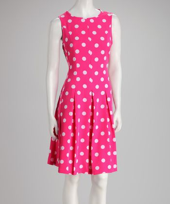 Fuchsia Polka Dot Pleated Dress