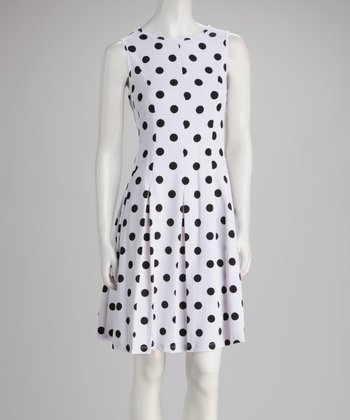 White & Black Polka Dot Pleated Dress