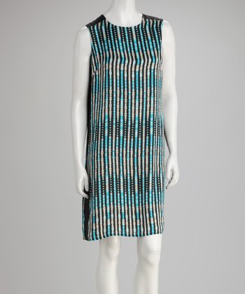 Teal Moire Shift Dress