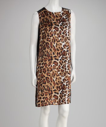 Brown Leopard Shift Dress - Women