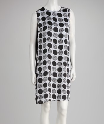 Gray & Black Circle Shift Dress