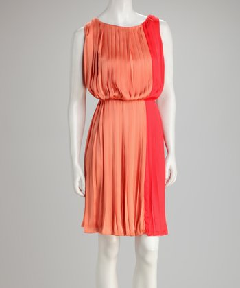 Dark & Light Orange Pleated Color Block Dress