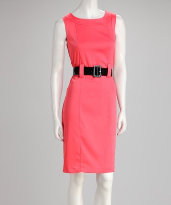Coral Belted Sleeveless Dress