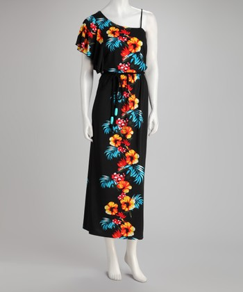 Black & Red Floral Asymmetrical Maxi Dress - Women