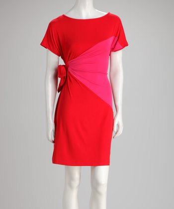 Red & Fuchsia Cape-Sleeve Side-Tie Dress