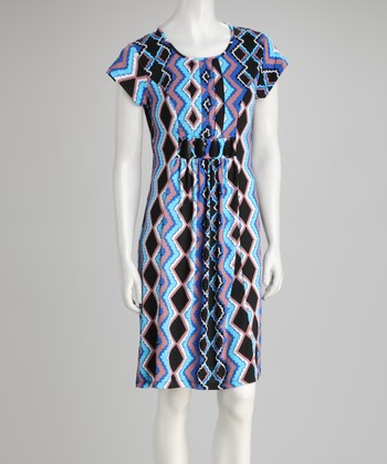 Blue & Purple Zigzag Embellished-Waist Dress