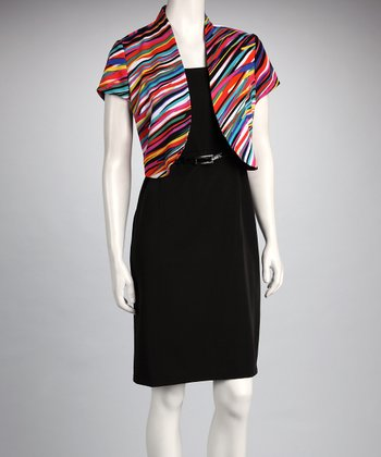 Black & Pink Stripe Belted Dress & Shrug