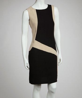 Black & Beige Color Block Dress