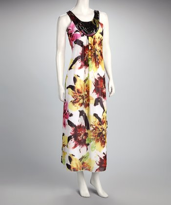 Pink & Yellow Flower Yoke Maxi Dress