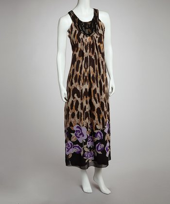 Taupe Flower & Leopard Maxi Dress