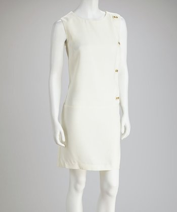 Cream Button Drop-Waist Dress