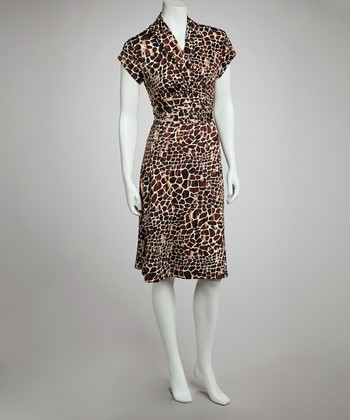 Brown Giraffe Cap-Sleeve Dress