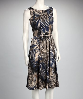 Blue & Gray Floral Pleated Sleeveless Dress