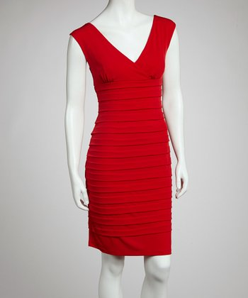 Flame Red Ribbed Dress