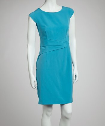 Turquoise Sash Cap-Sleeve Dress