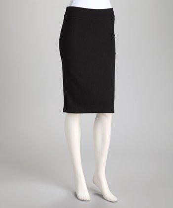 Black Zipper Pencil Skirt