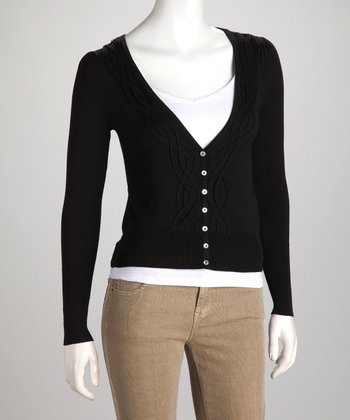 Black Braided V-Neck Cardigan