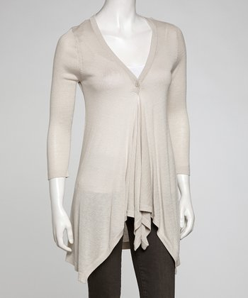 Beige Single-Button Cardigan