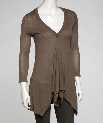 Khaki Single-Button Cardigan