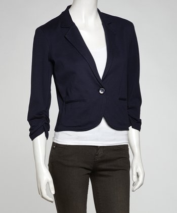 Navy Crop Blazer