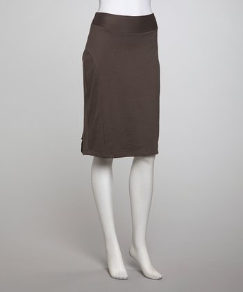 Gray Kick Pleat Pencil Skirt