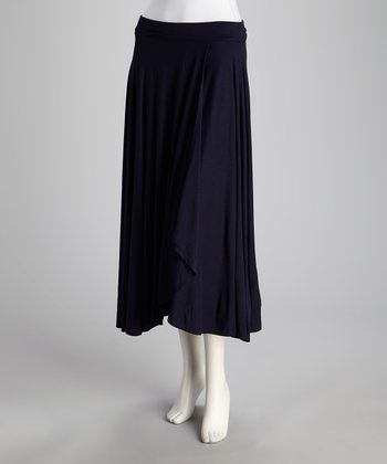 French Navy Long Wrap Skirt