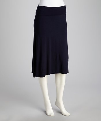 French Navy Pleat Knee-Length Skirt