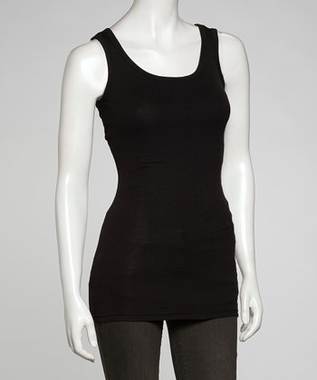 Black Ribbed Long Layering Tank